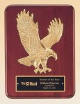 Rosewood Piano Finish Plaque with Gold Eagle Casting Achievement Award Trophies