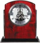 Rosewood Piano Finish Arch Clock with Silver Trim Boss Gift Awards