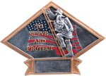 Firefighter Diamond Plate Resin Fire and Safety Awards