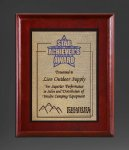 Cherry Finish Panel; Gold Tone Plate Sales Awards